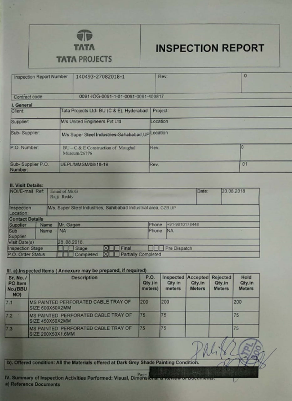 Tata Inspection Report 1